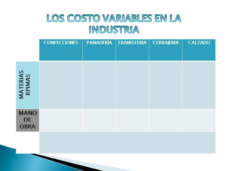 LOS COSTO VARIABLES EN LA INDUSTRIA