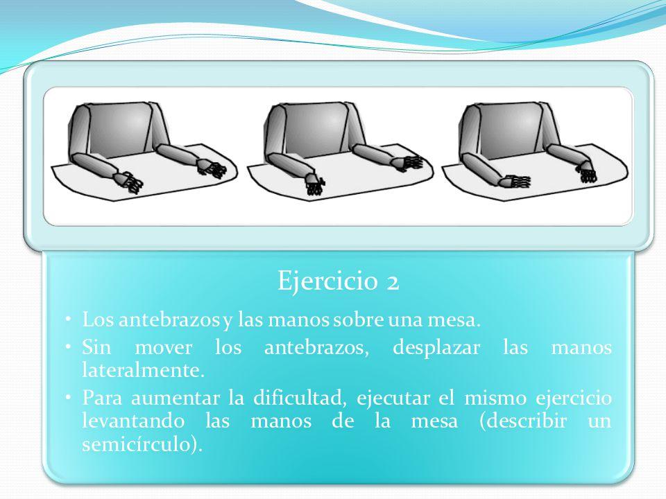 Ejercicio 2 Los antebrazos y las manos sobre una mesa. Sin mover los antebrazos, desplazar las manos lateralmente.