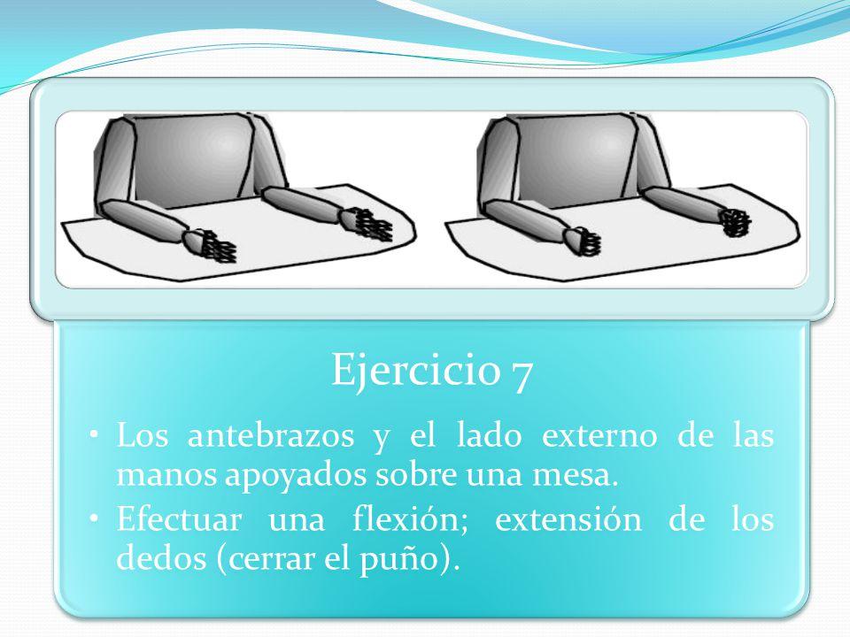 Ejercicio 7 Los antebrazos y el lado externo de las manos apoyados sobre una mesa.