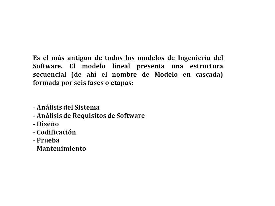 Es el más antiguo de todos los modelos de Ingeniería del Software