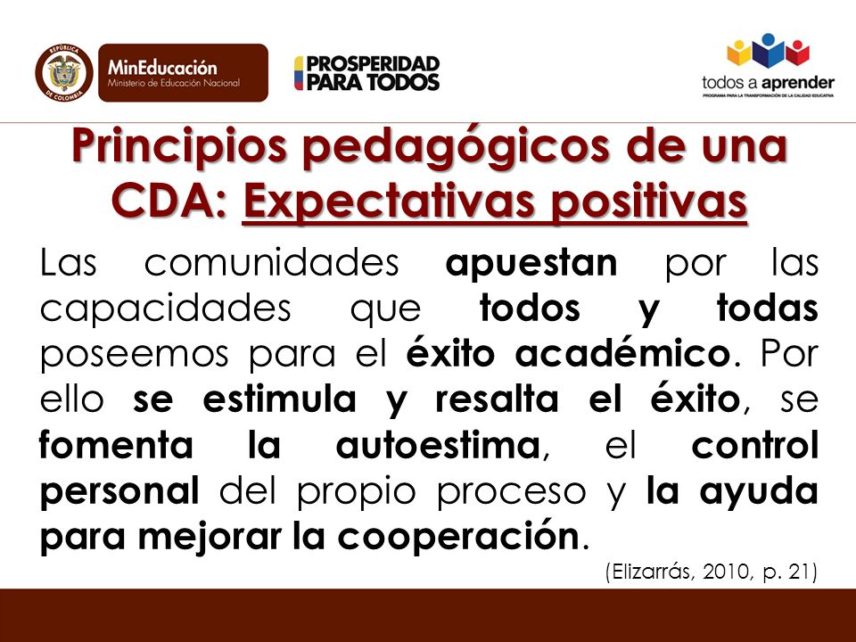 Principios pedagógicos de una CDA: Expectativas positivas