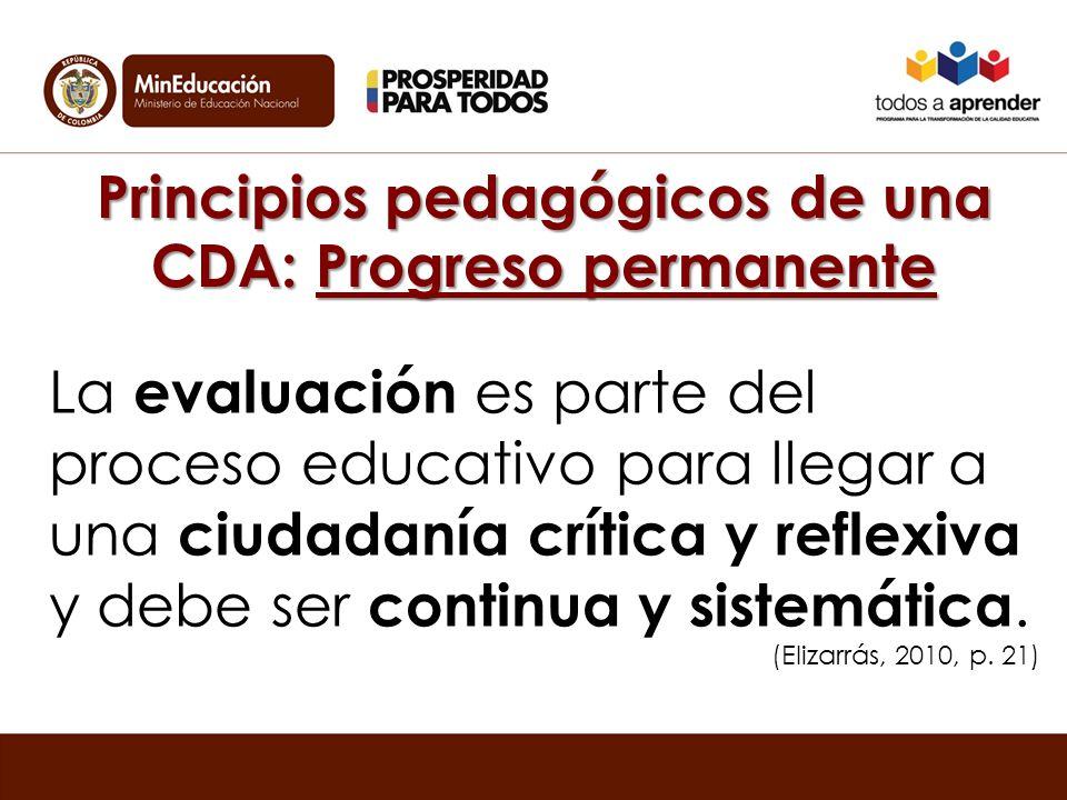 Principios pedagógicos de una CDA: Progreso permanente