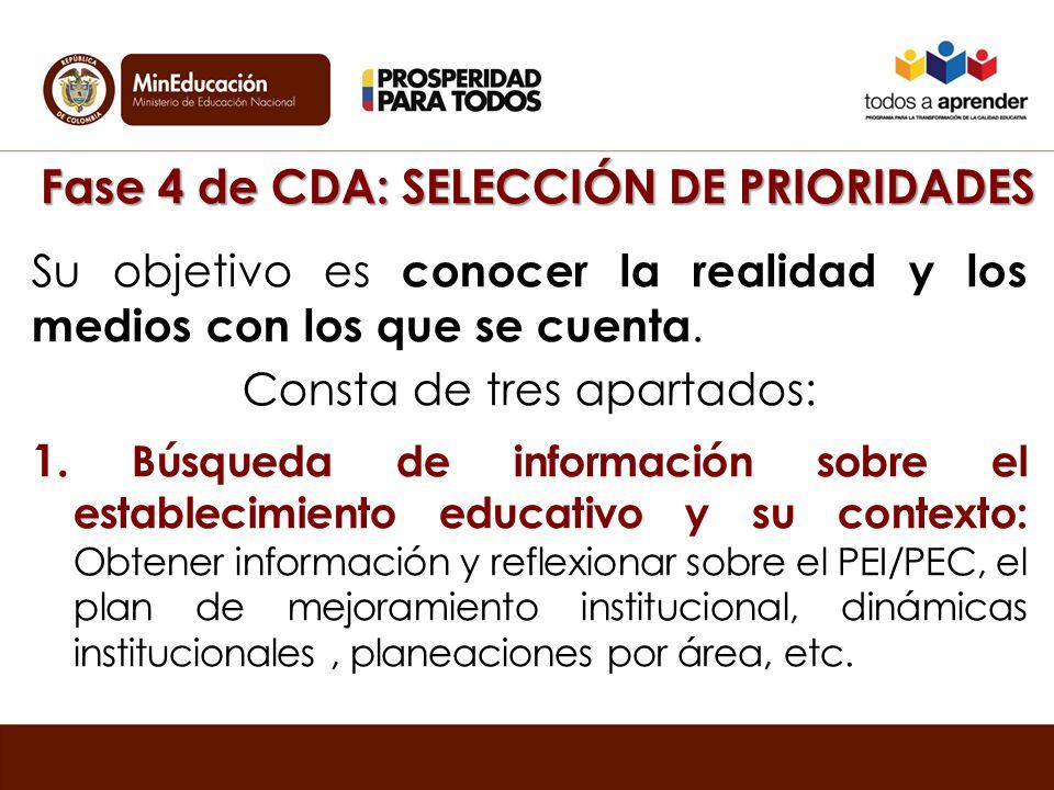 Fase 4 de CDA: SELECCIÓN DE PRIORIDADES