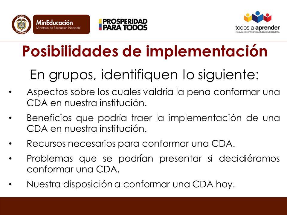 Posibilidades de implementación