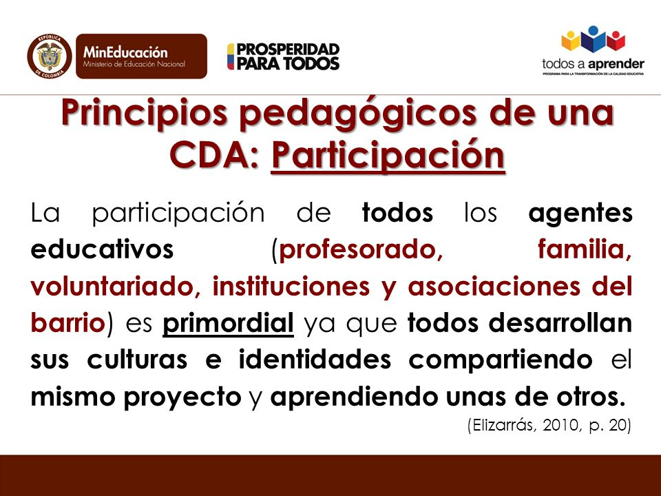 Principios pedagógicos de una CDA: Participación