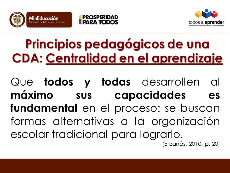 Principios pedagógicos de una CDA: Centralidad en el aprendizaje