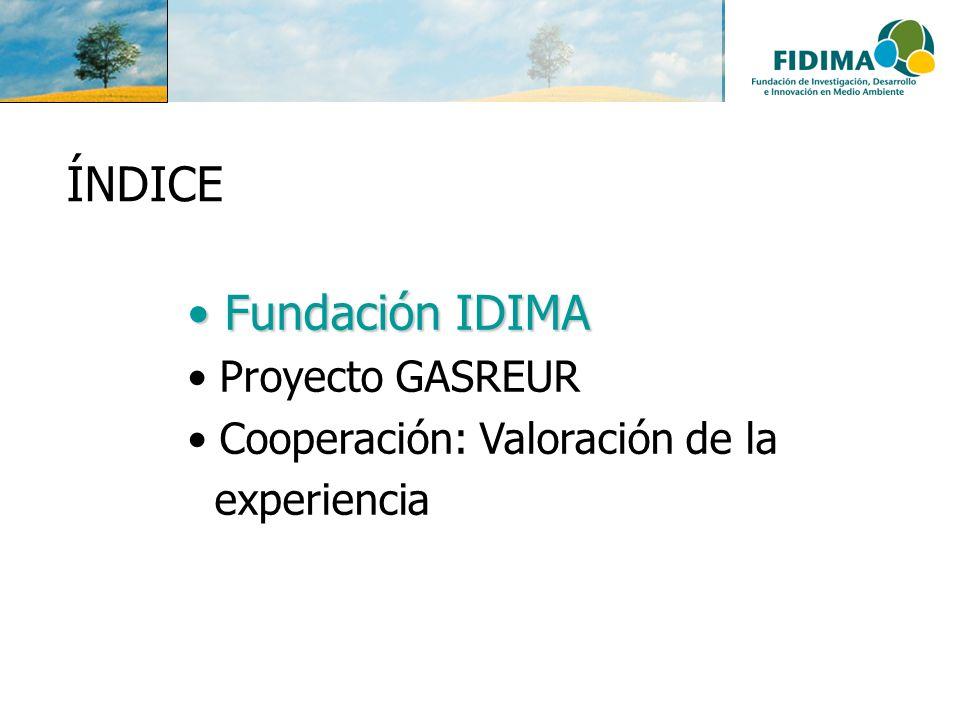 ÍNDICE Fundación IDIMA Proyecto GASREUR Cooperación: Valoración de la
