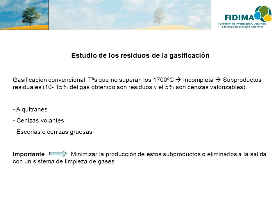 Estudio de los residuos de la gasificación