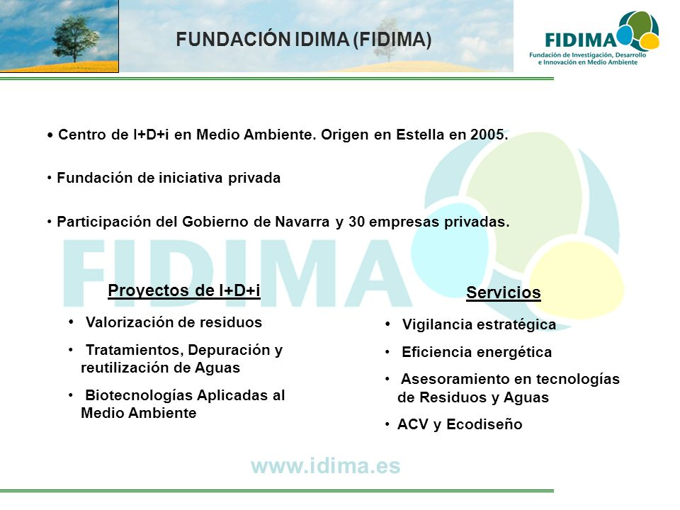 www.idima.es FUNDACIÓN IDIMA (FIDIMA) Proyectos de I+D+i Servicios