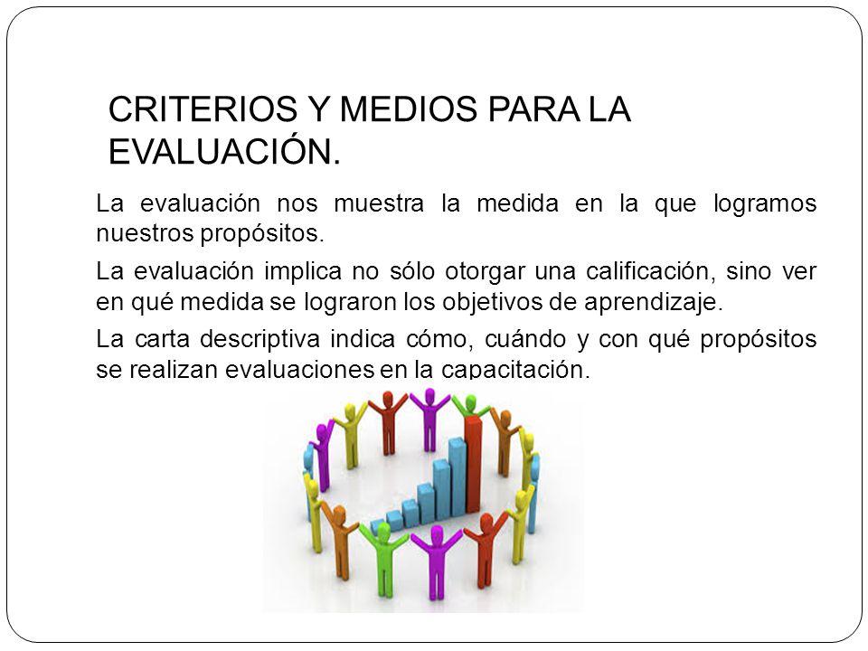 CRITERIOS Y MEDIOS PARA LA EVALUACIÓN.