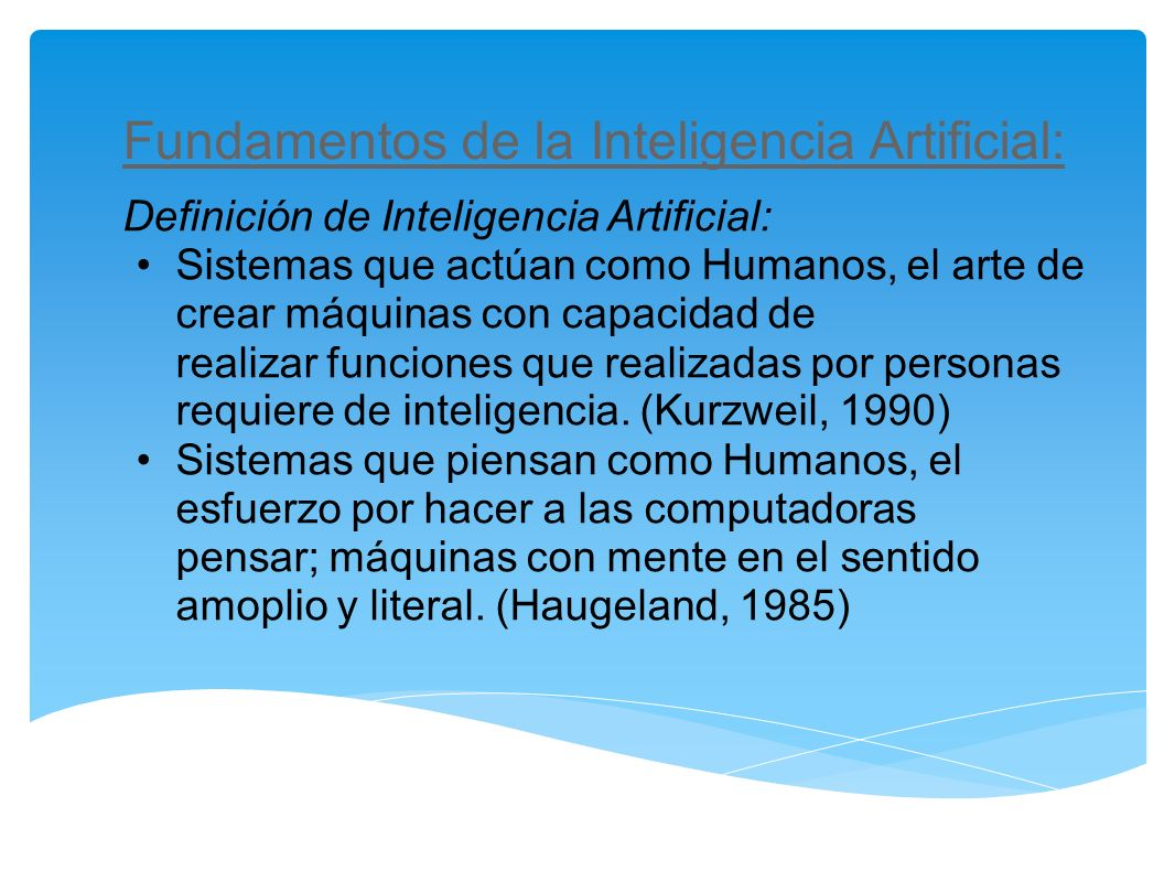 Fundamentos de la Inteligencia Artificial: