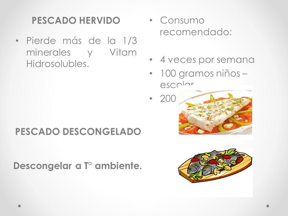 PESCADO HERVIDO Consumo recomendado: 4 veces por semana. 100 gramos niños –escolar. 200 gramos-adultos.
