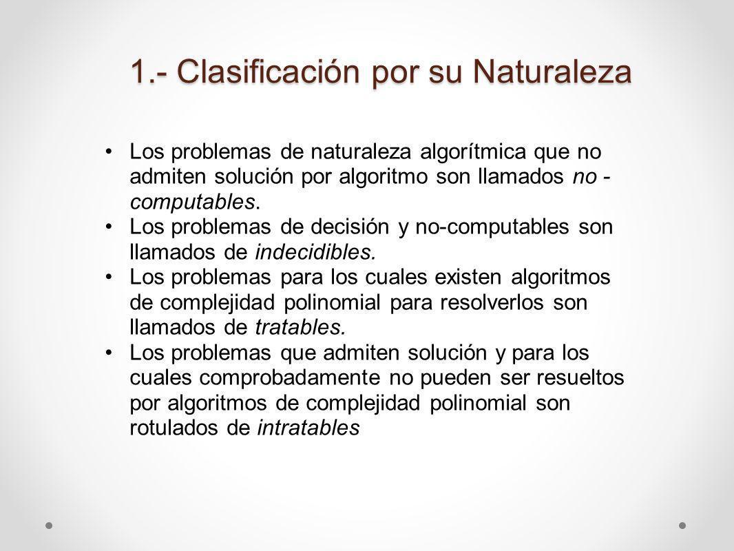 1.- Clasificación por su Naturaleza