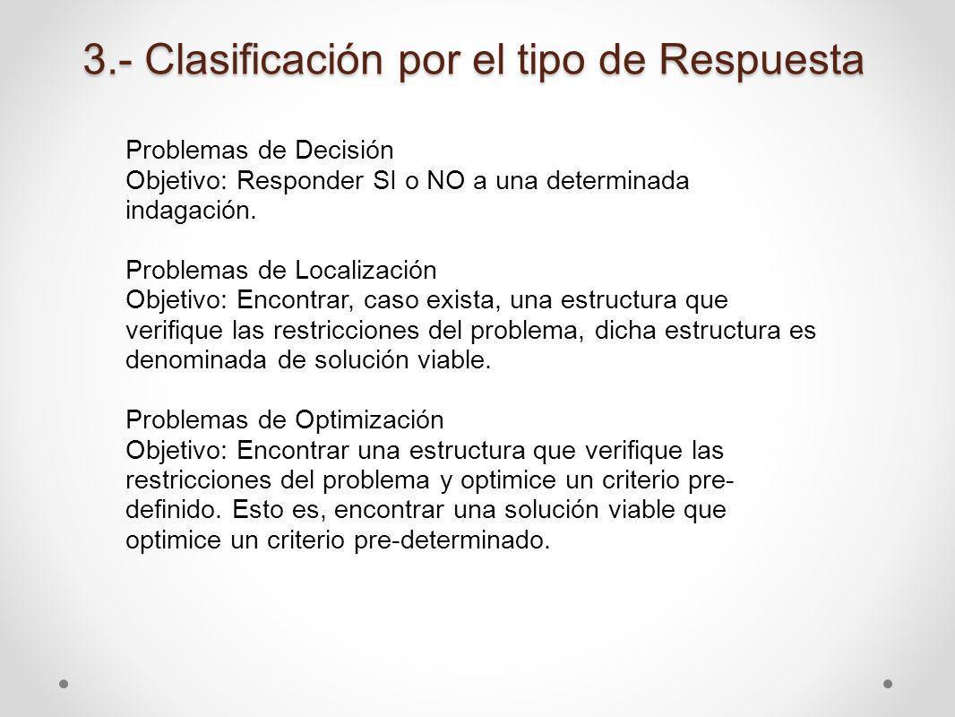 3.- Clasificación por el tipo de Respuesta