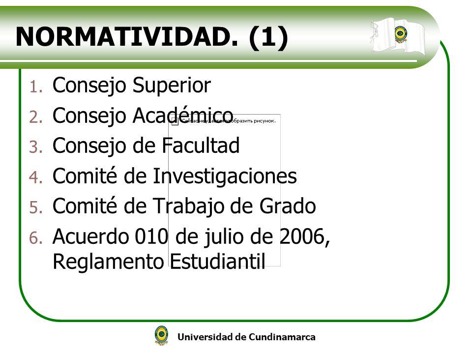 NORMATIVIDAD. (1) Consejo Superior Consejo Académico