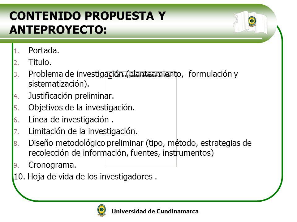 CONTENIDO PROPUESTA Y ANTEPROYECTO: