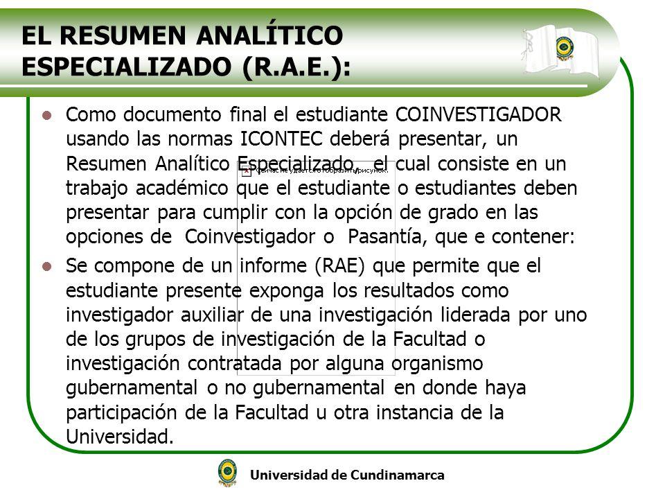 EL RESUMEN ANALÍTICO ESPECIALIZADO (R.A.E.):