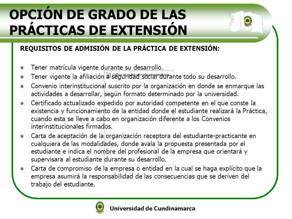 OPCIÓN DE GRADO DE LAS PRÁCTICAS DE EXTENSIÓN