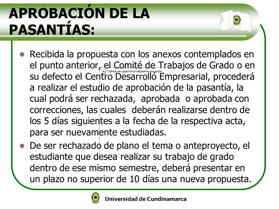 APROBACIÓN DE LA PASANTÍAS: