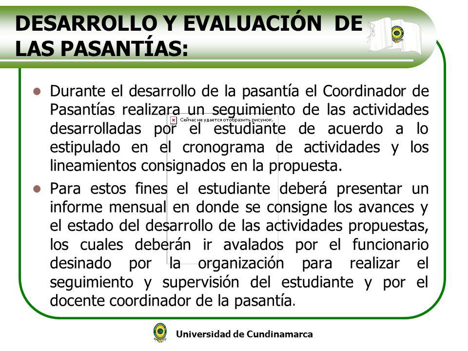 DESARROLLO Y EVALUACIÓN DE LAS PASANTÍAS: