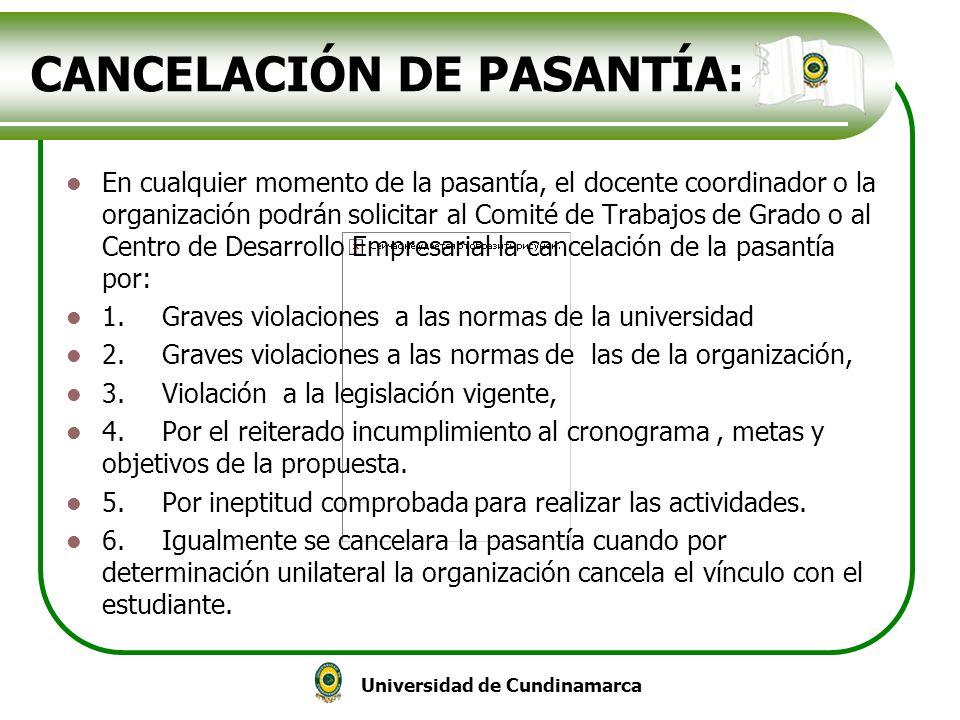 CANCELACIÓN DE PASANTÍA: