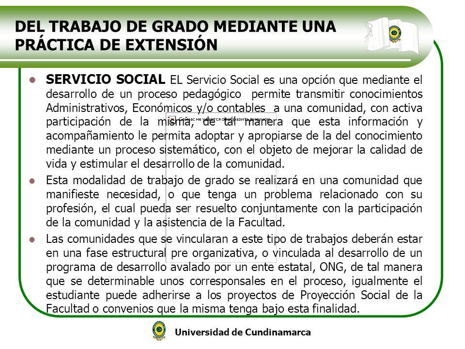 DEL TRABAJO DE GRADO MEDIANTE UNA PRÁCTICA DE EXTENSIÓN