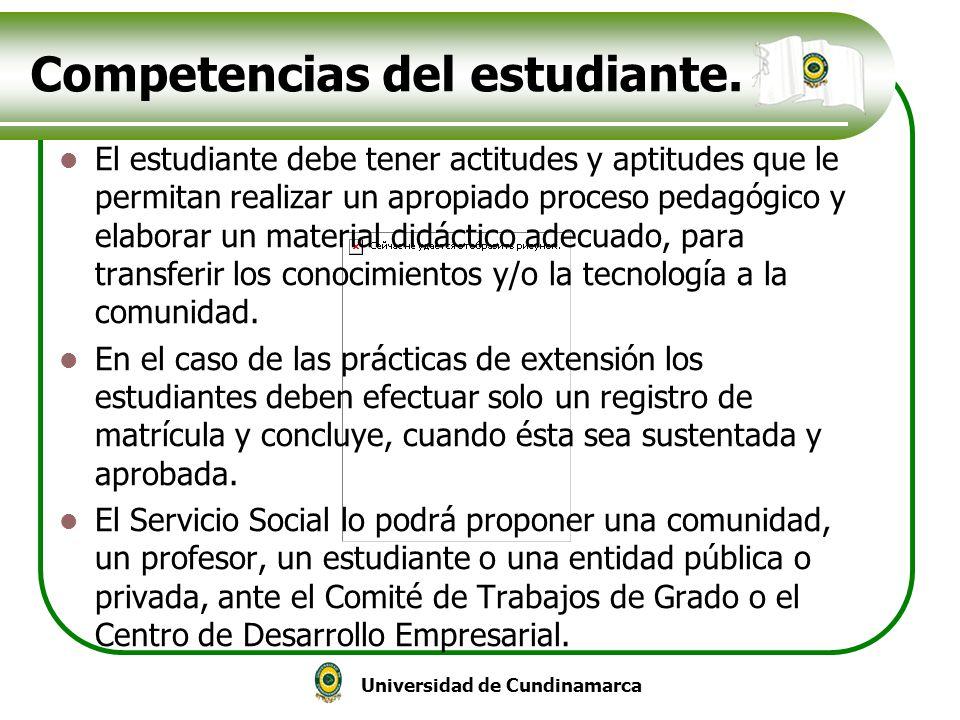 Competencias del estudiante.