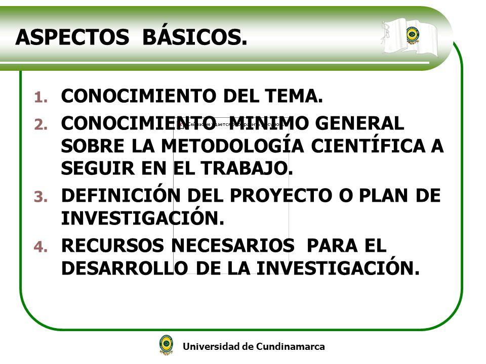 ASPECTOS BÁSICOS. CONOCIMIENTO DEL TEMA.