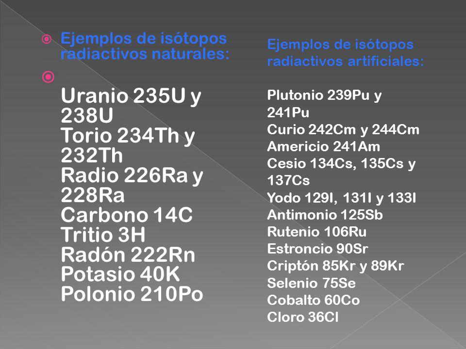 Ejemplos de isótopos radiactivos naturales: