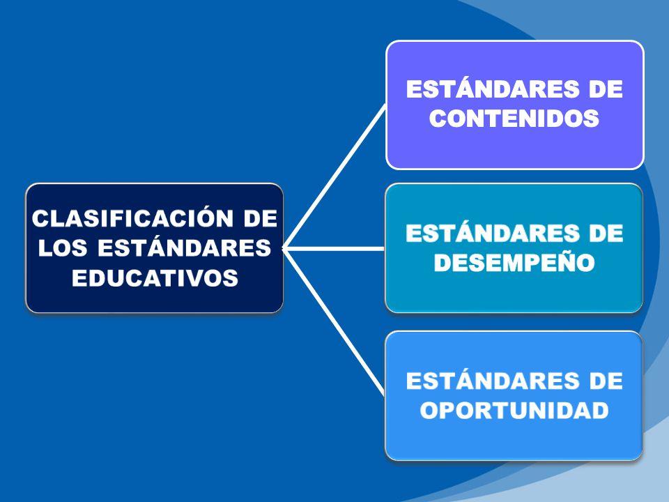 CLASIFICACIÓN DE LOS ESTÁNDARES EDUCATIVOS ESTÁNDARES DE CONTENIDOS