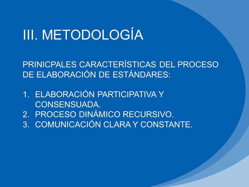 III. METODOLOGÍA PRINICPALES CARACTERÍSTICAS DEL PROCESO DE ELABORACIÓN DE ESTÁNDARES: ELABORACIÓN PARTICIPATIVA Y CONSENSUADA.