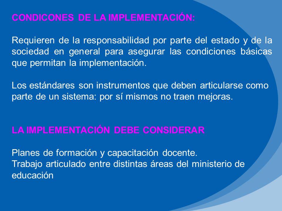 CONDICONES DE LA IMPLEMENTACIÓN:
