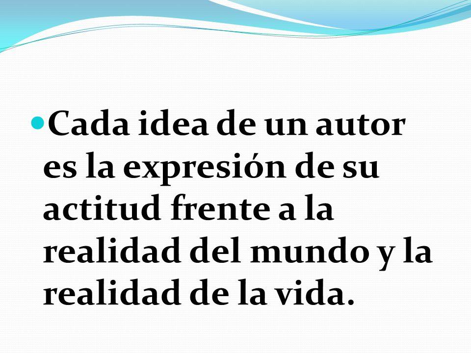 Cada idea de un autor es la expresión de su actitud frente a la realidad del mundo y la realidad de la vida.