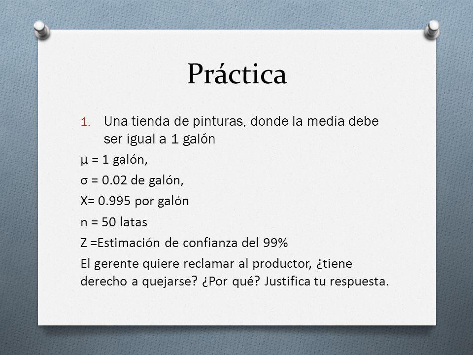 Práctica Una tienda de pinturas, donde la media debe ser igual a 1 galón. μ = 1 galón, σ = 0.02 de galón,