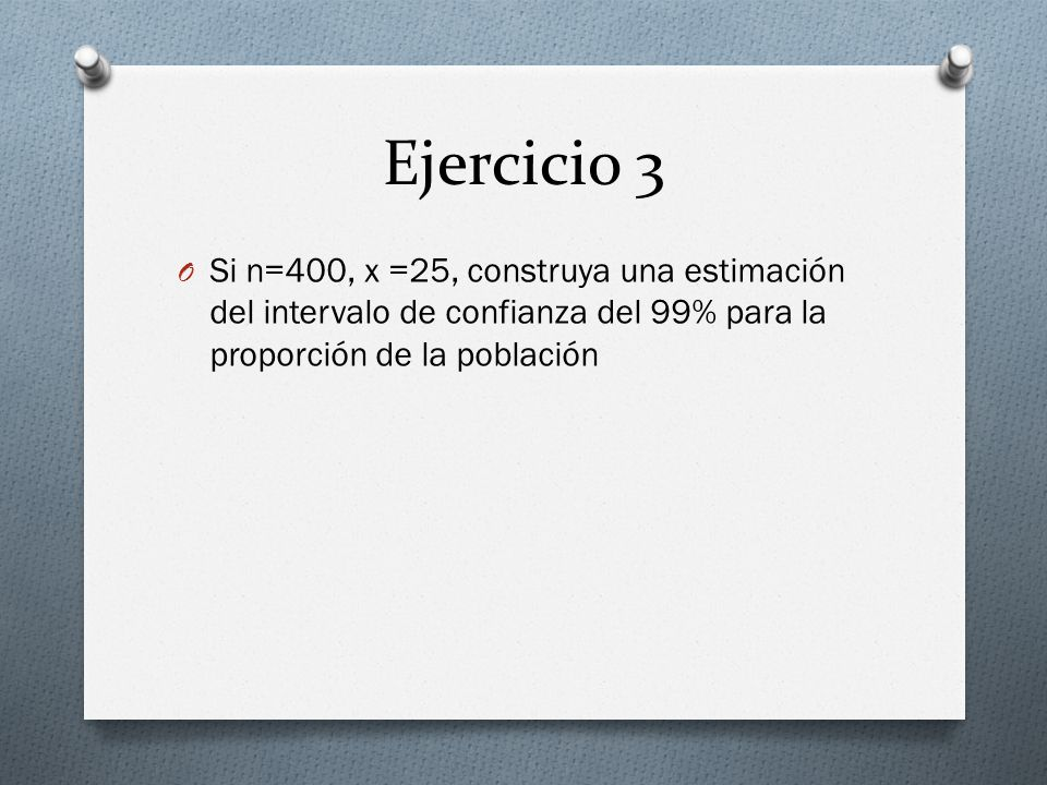 Ejercicio 3 Si n=400, x =25, construya una estimación del intervalo de confianza del 99% para la proporción de la población.