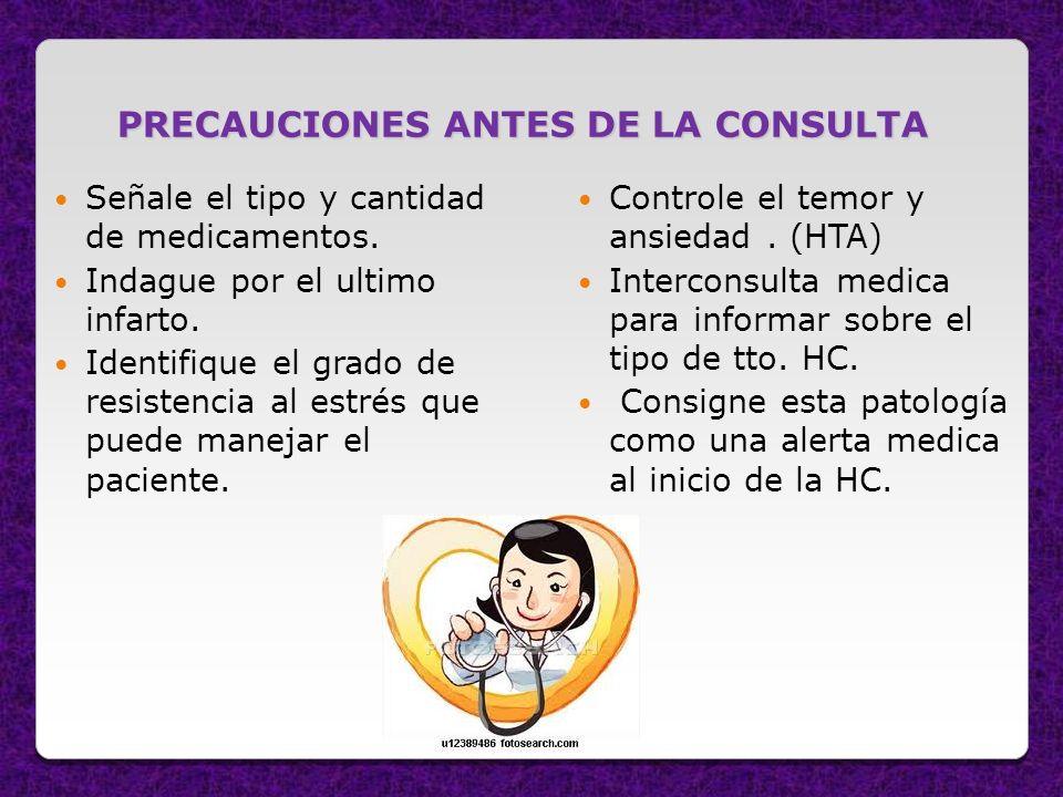 PRECAUCIONES ANTES DE LA CONSULTA
