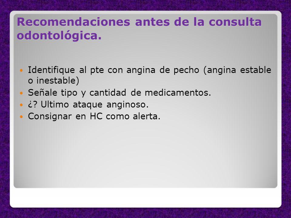 Recomendaciones antes de la consulta odontológica.