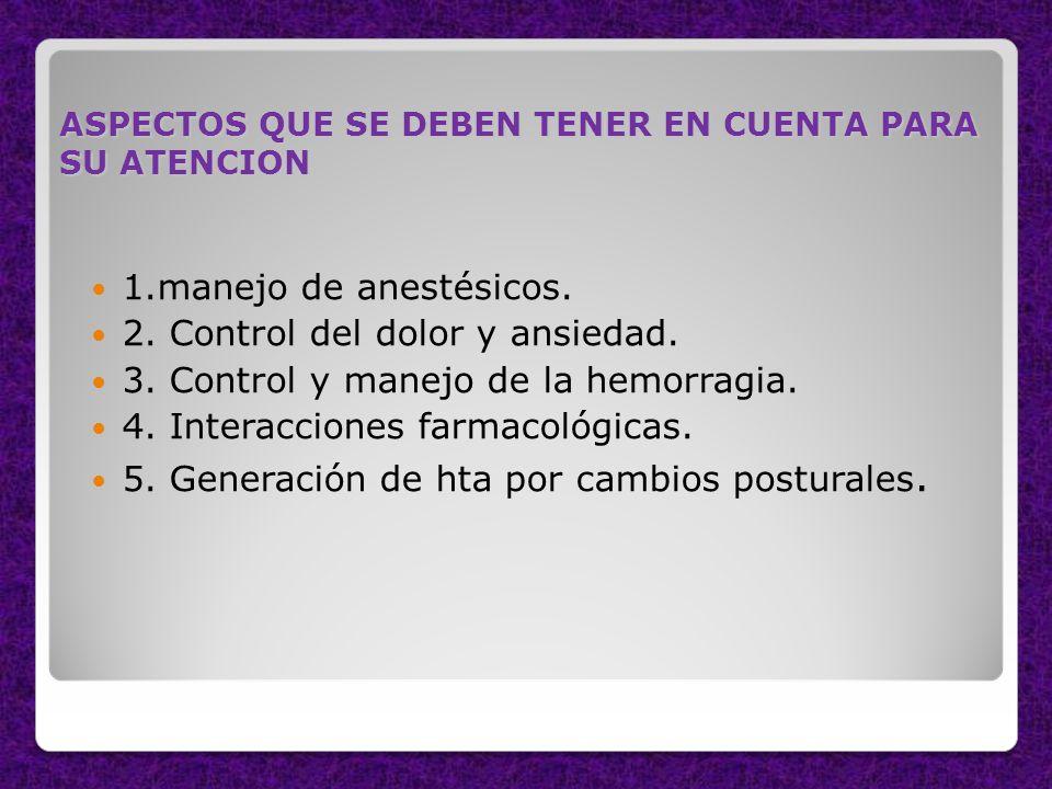 2. Control del dolor y ansiedad. 3. Control y manejo de la hemorragia.