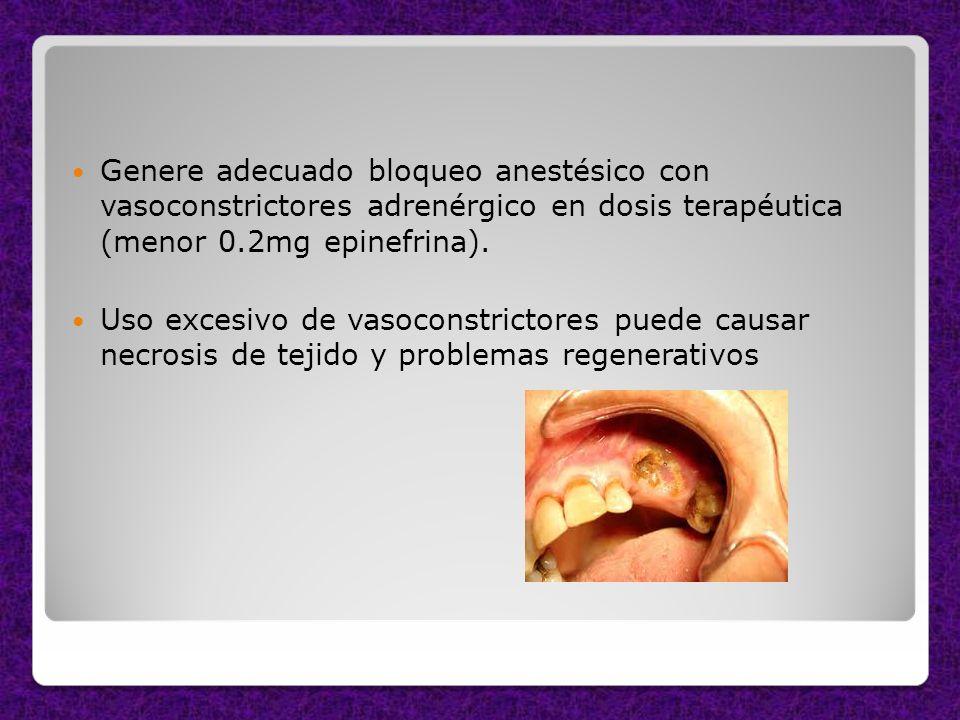 Genere adecuado bloqueo anestésico con vasoconstrictores adrenérgico en dosis terapéutica (menor 0.2mg epinefrina).