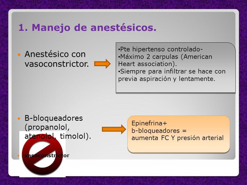 1. Manejo de anestésicos. Anestésico con vasoconstrictor.
