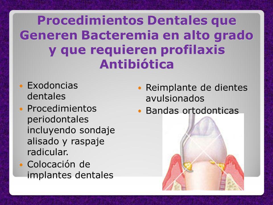 Procedimientos Dentales que Generen Bacteremia en alto grado y que requieren profilaxis Antibiótica