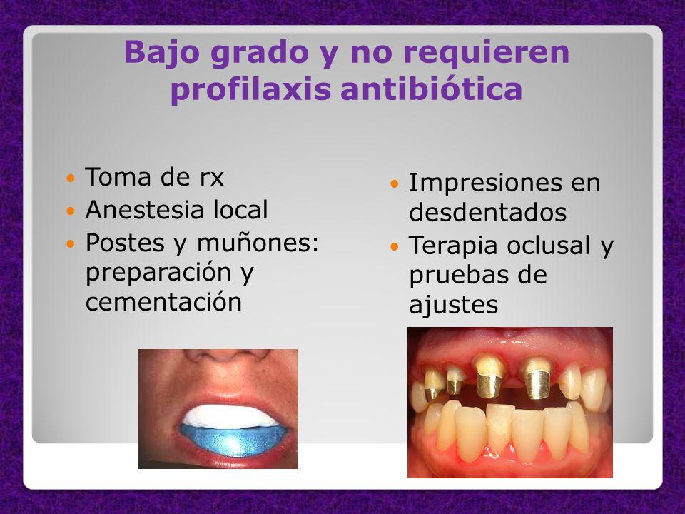 Bajo grado y no requieren profilaxis antibiótica