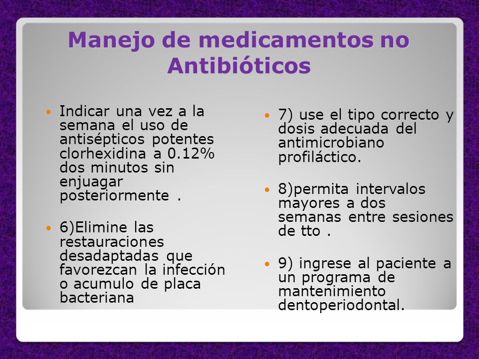 Manejo de medicamentos no Antibióticos