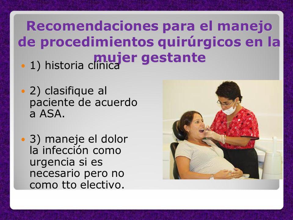 Recomendaciones para el manejo de procedimientos quirúrgicos en la mujer gestante