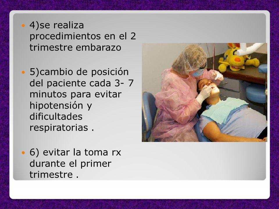 4)se realiza procedimientos en el 2 trimestre embarazo