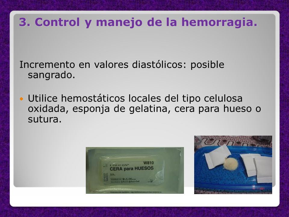 3. Control y manejo de la hemorragia.
