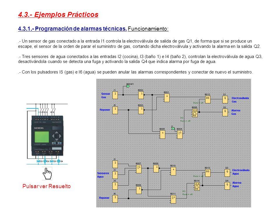 4.3.- Ejemplos Prácticos 4.3.1.- Programación de alarmas técnicas. Funcionamiento: