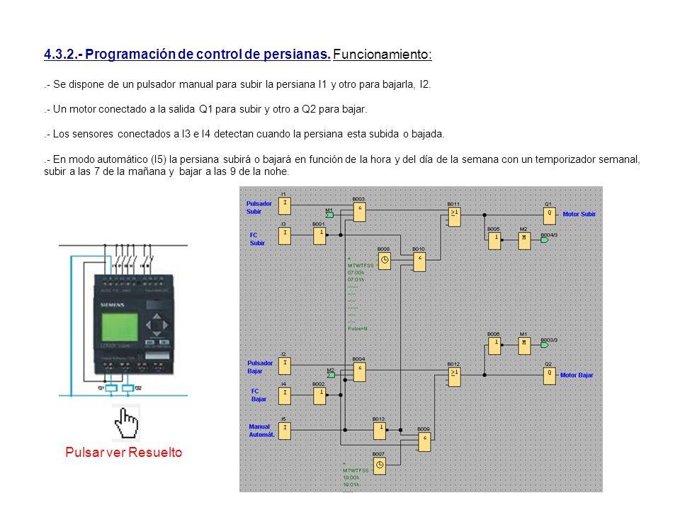 4.3.2.- Programación de control de persianas. Funcionamiento: