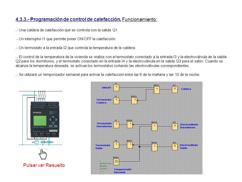 4.3.3.- Programación de control de calefacción. Funcionamiento: