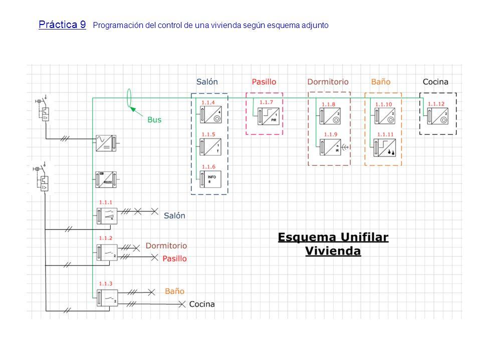 Práctica 9 Programación del control de una vivienda según esquema adjunto
